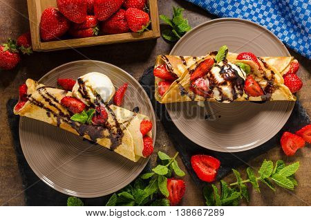 Crepes With Ice Cream