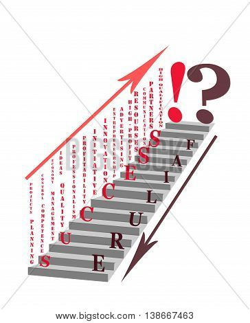Whether your business is successful or it will fail? Some of the factors based on which you can reach the pinnacle of success. Conceptual illustration - abstract stairs development or regression