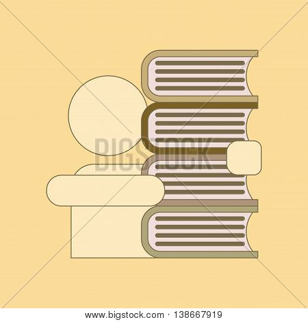 flat icon with thin lines schoolboy books