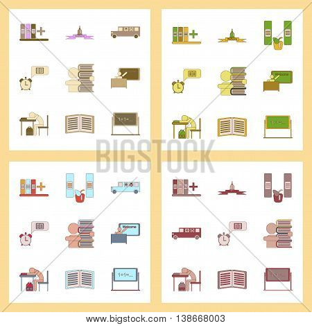 assembly of flat icons education school supplies