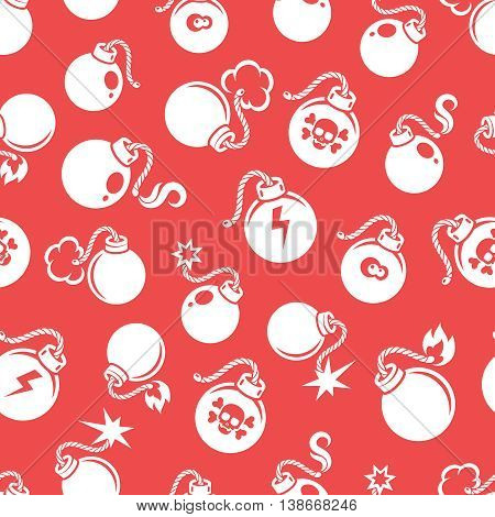 Seamless pattern with flat style bombs on red background. Vector illustration