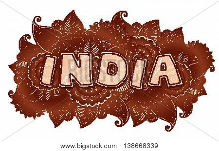 Vector India lettering on henna colors mehndi floral background