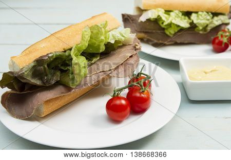Beef baguette A French baguette stuffed with beef