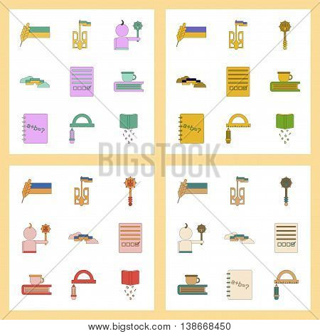assembly of flat icons Ukrainian school lessons
