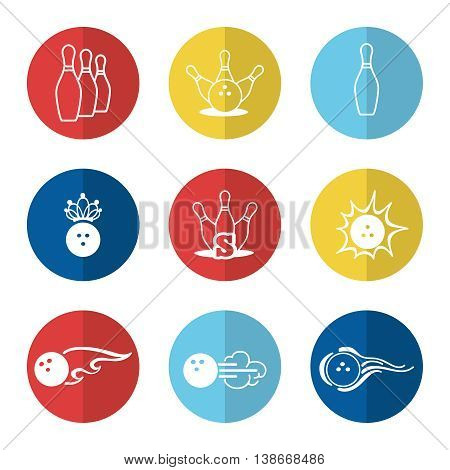 Bowling line icons set vector with ball and skittle