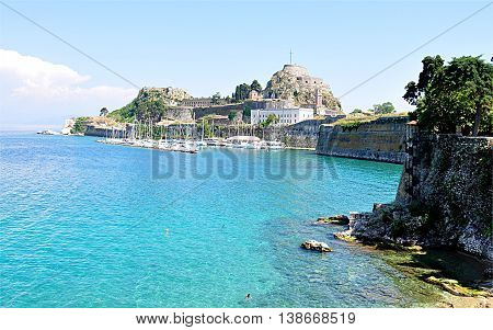 view of the fort and the ruins of the island of Corfu, Greece, Europe