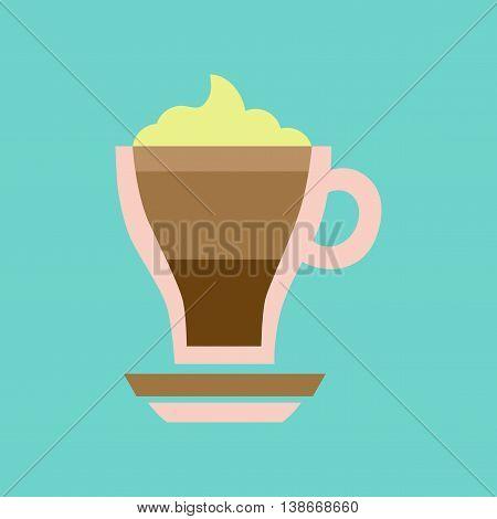 flat icon on stylish background cup coffee mocha
