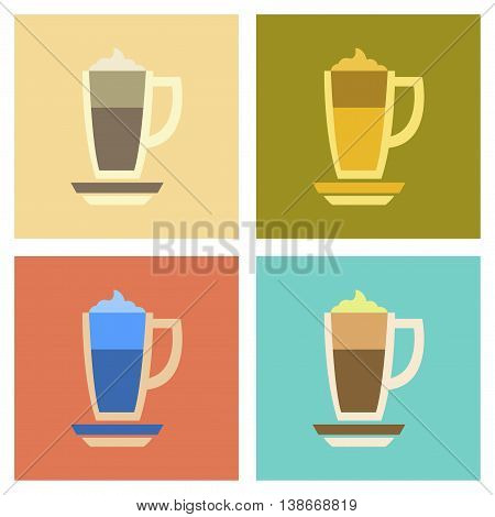 assembly of flat icons coffee cup of latte