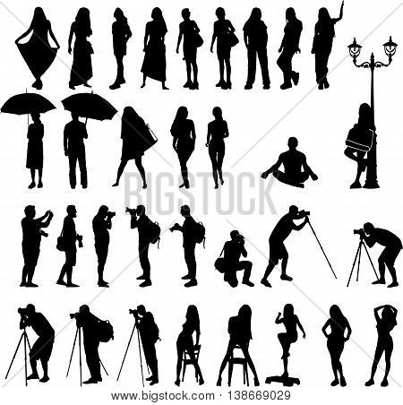 vector silhouettes the woman's silhouettes on vacation and men photographers illustration on the isolated white background