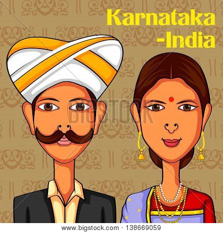 Vector design of Karnatakan Couple in traditional costume of Karnataka, India