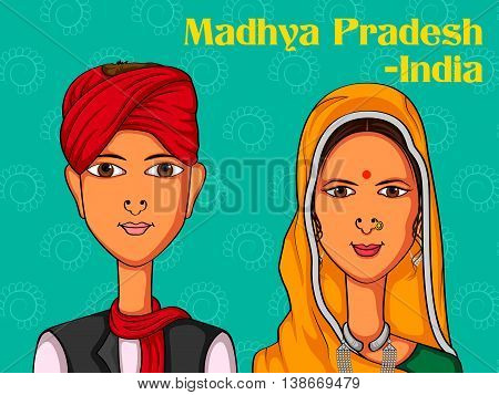 Vector design of Madhya Pradeshii Couple in traditional costume of Madhya Pradesh, India