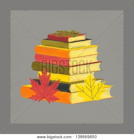 flat shading style icon education stack of books