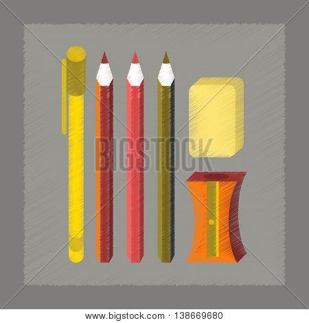 flat shading style icon education pencil eraser pen