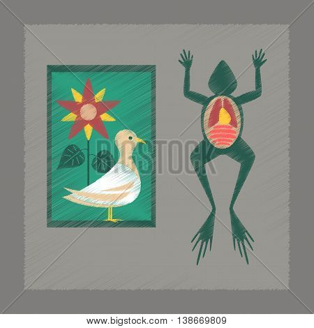 flat shading style icon education Biology frog bird flowers