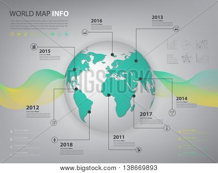 worldwide map infographic for business presentation and slide show (Vector eps10)