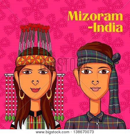 Vector design of Mizo Couple in traditional costume of Mizoram, India
