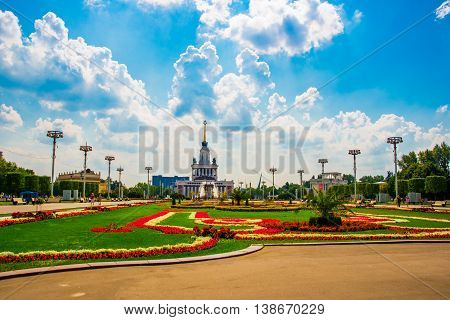 Central Pavilion, Exhibition Center. Beautiful Flower Beds. Enea,vdnh,vvc. Moscow, Russia.