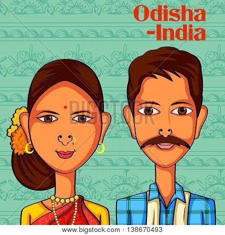 Vector design of Odia Couple in traditional costume of Odisha, India