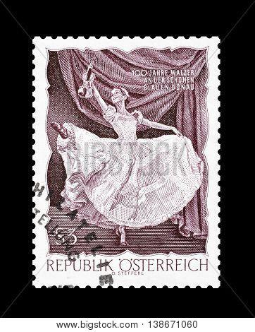 AUSTRIA - CIRCA 1967 : Cancelled postage stamp printed by Austria, that shows ballerina.