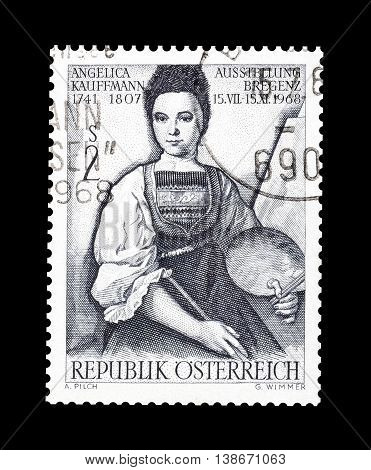 AUSTRIA - CIRCA 1968 : Cancelled postage stamp printed by Austria, that shows Angelica Kauffman.