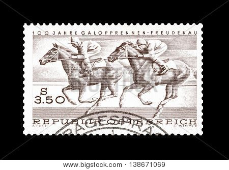 AUSTRIA - CIRCA 1968 : Cancelled postage stamp printed by Austria, that shows Horse racing.
