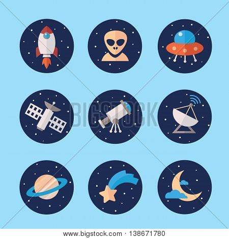 Space icons set in flat style. Cosmos exploration elements vector collection. Rocket Saturn satellite ufo moon transmitter alien star telescope.