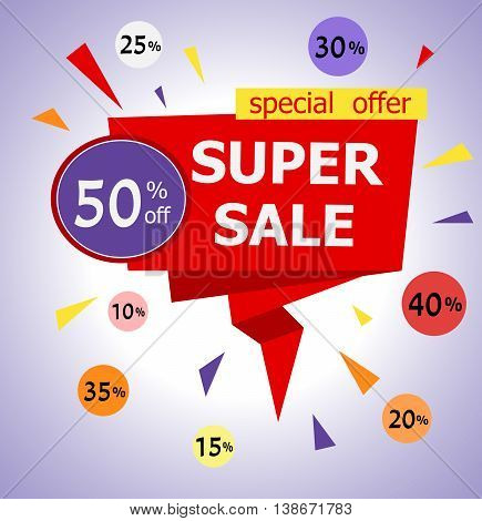 Super Sale paper banner. Big sale and special offer. 50% off. Vector illustration.