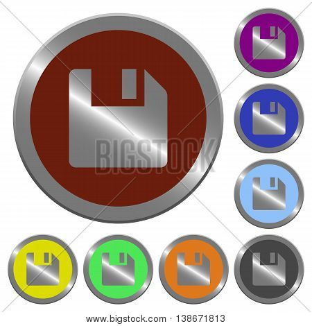 Set of color glossy coin-like save buttons.
