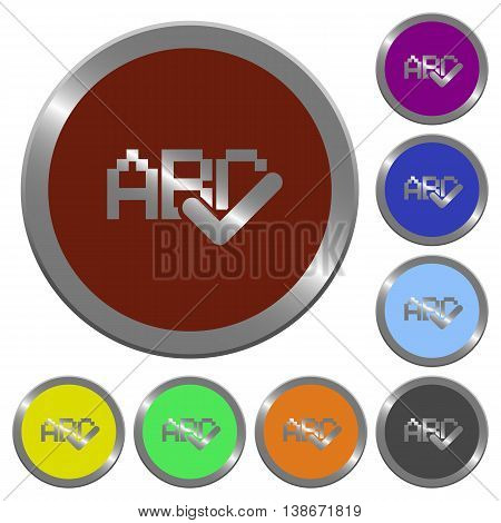 Set of color glossy coin-like spell check buttons.