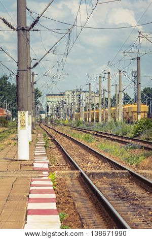 Railway station. Electrified railway track with railway signals