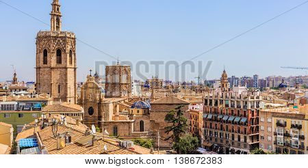 Panoramic View Of Micalet Tower In Valencia, Spain