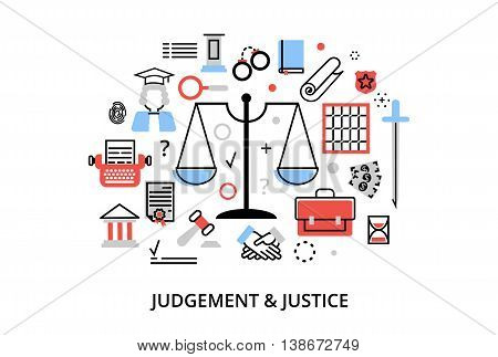 Modern flat thin line design vector illustration concepts of judgment process protection of human rights and ordinances of justice for graphic and web design