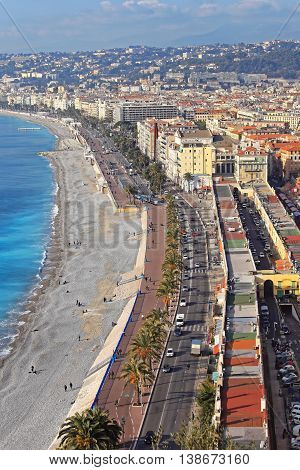 NICE FRANCE - JANUARY 18: Aerial Cityscape of Nice on JANUARY 18 2012. Promenade and Waterfront Beach From Hill in Nice France.