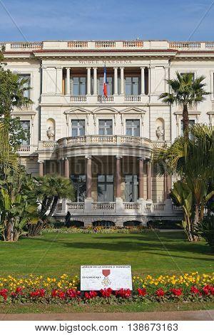 NICE FRANCE - JANUARY 20: Massena Museum Nice on JANUARY 20 2012. Massena Palace Villa Museum of Art And History in Nice France.