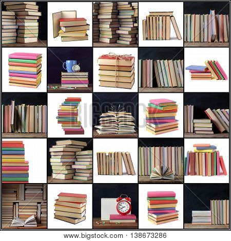 Collage with books on a white background and on black background school Board. Back to school.