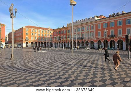 NICE FRANCE - JANUARY 21: Place Massena Nice on JANUARY 21 2012. City Square Massena With Few Pedestrians in Nice France.