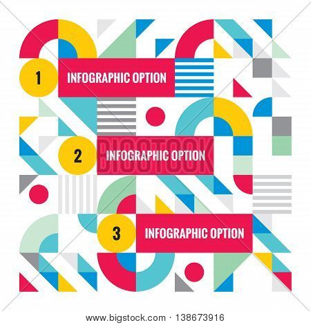 Abstract business infographic template - creative vector concept illustration. Numbered step options banner. Geometric mosaic layout.