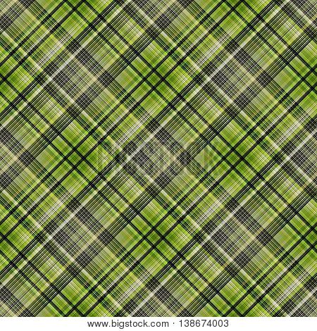 Checkered seamless pattern. Green, white and black cowboy ornament. Abstract symmetrical background. Vector eps10