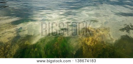 Underwater texture with the light on a rocky seafloor with stone pieces and moss