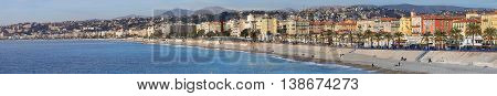 NICE FRANCE - JANUARY 21: Panoramic Cityscape of Nice on JANUARY 21 2012. Long Panorama Waterfront Beach and Promenade in Nice France.