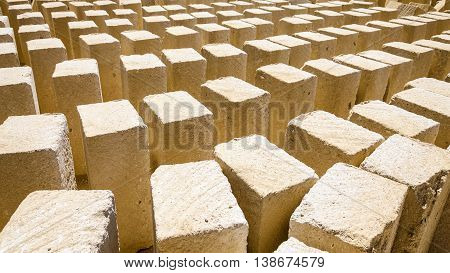 A multitude of tufa blocks in a stone quarry
