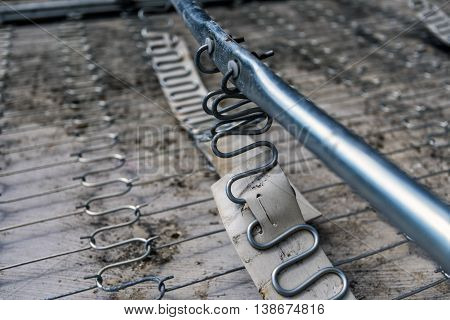 metallic bedstead, aluminum bedpost detail macro closeup