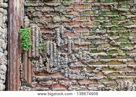 Grungy urban background of a brick old more than 120 years grungy texture grey concrete wall texture patterns zinc rust
