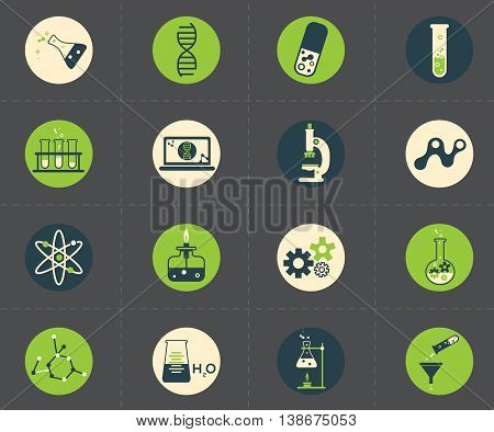 Science icons set. Chemistry and medicine collection.
