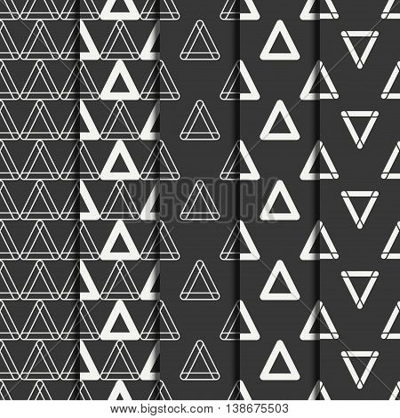 Set of geometric line monochrome abstract hipster seamless pattern with triangle.