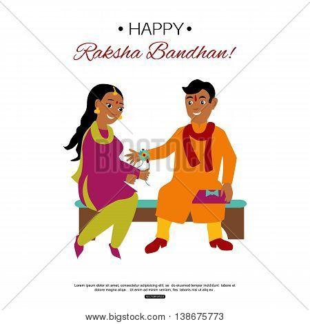 Brother and sister celebrating Raksha Bandhan tying rakhi. Indian traditional holiday background. Vector eps 10 format.