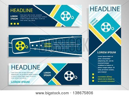 Film Reel Icon On Horizontal And Vertical Banner