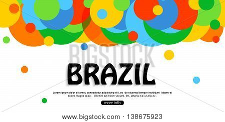 Brazil travel background for tourist banner, poster, flyer, brochure. Vector eps 10 format.
