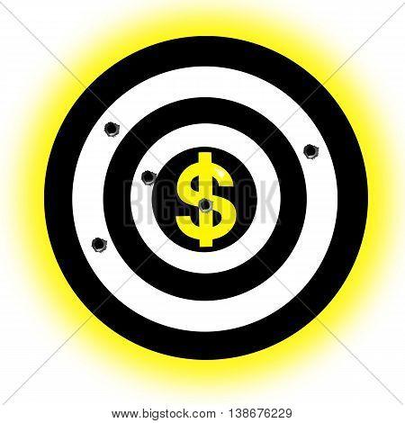 Dollar sign in target center. Dollar sign in aim