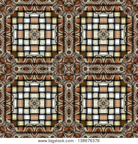 Abstract decorative multicolor (brown, silver, gold) texture - kaleidoscope striped 3D pattern